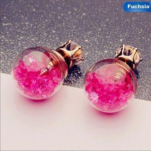NEW Fuchsia crystal Ball Double sided earrings.